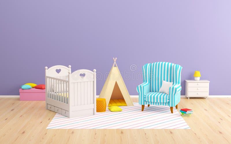 Tenda e poltrona da sala do bebê ilustração royalty free