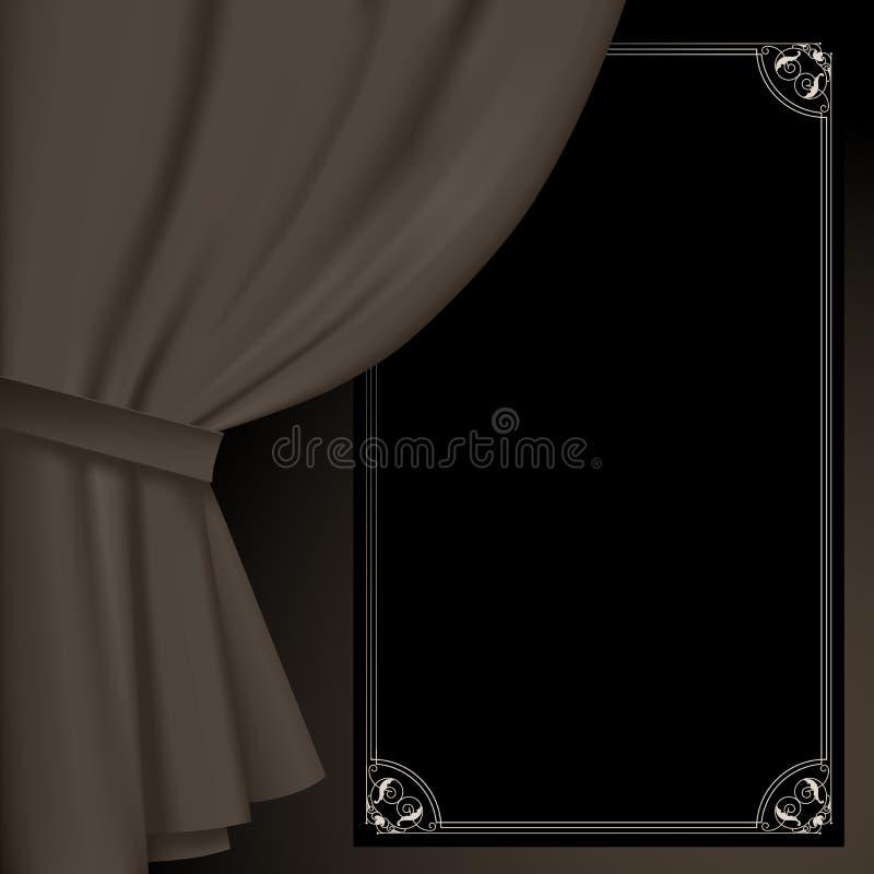 Tenda nei colori d'annata scuri ed in un segno nero sospeso royalty illustrazione gratis