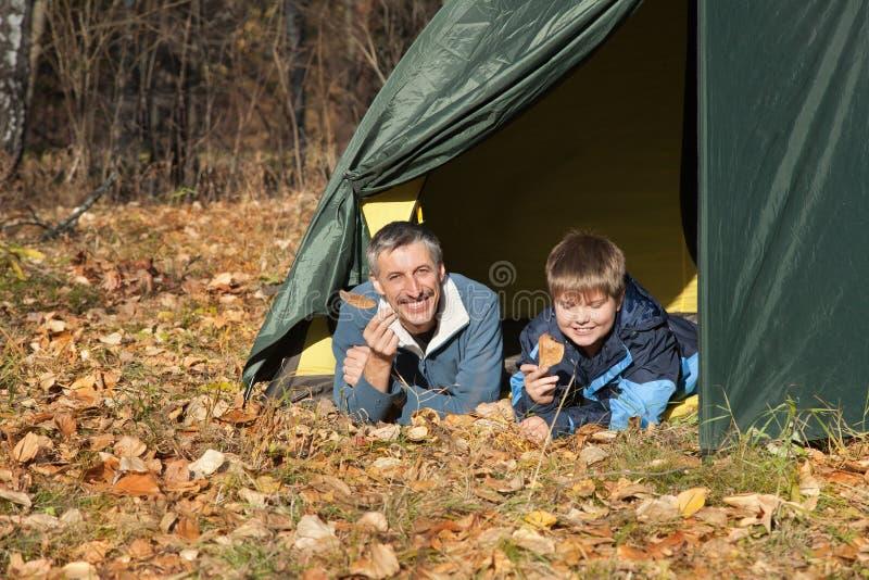 Tenda nella foresta di autunno immagine stock libera da diritti