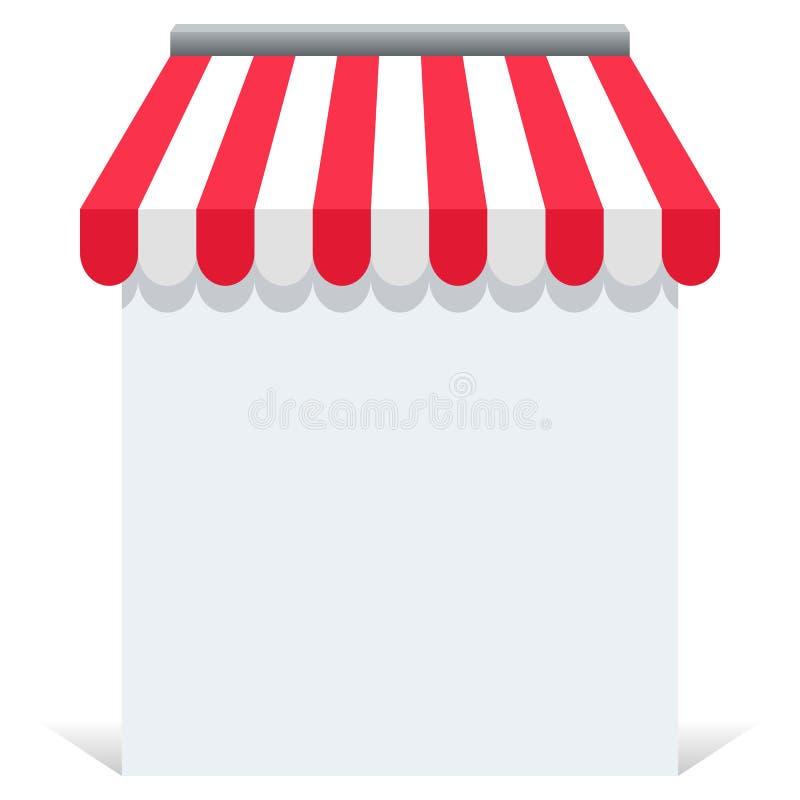 Tenda online del deposito con carta in bianco illustrazione vettoriale