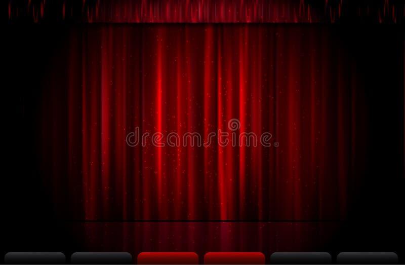 Tenda rossa chiusa della fase royalty illustrazione gratis