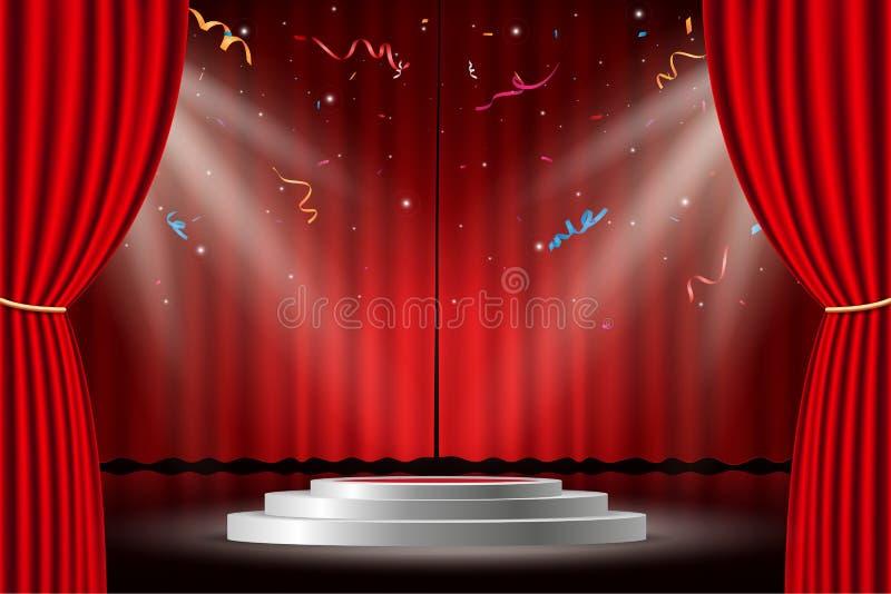 Tenda rossa con la fase ed i coriandoli bianchi royalty illustrazione gratis