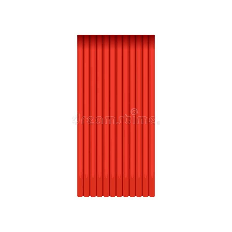 Tenda teatrale posteriore rossa d'annata del velluto o della seta illustrazione di stock