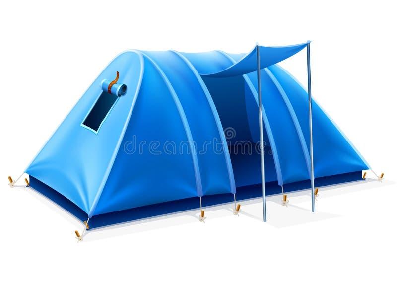 Tenda turistica blu per la corsa ed accamparsi illustrazione di stock