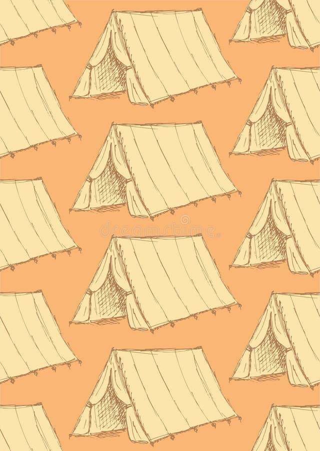 Tenda turistica di schizzo nello stile d'annata royalty illustrazione gratis