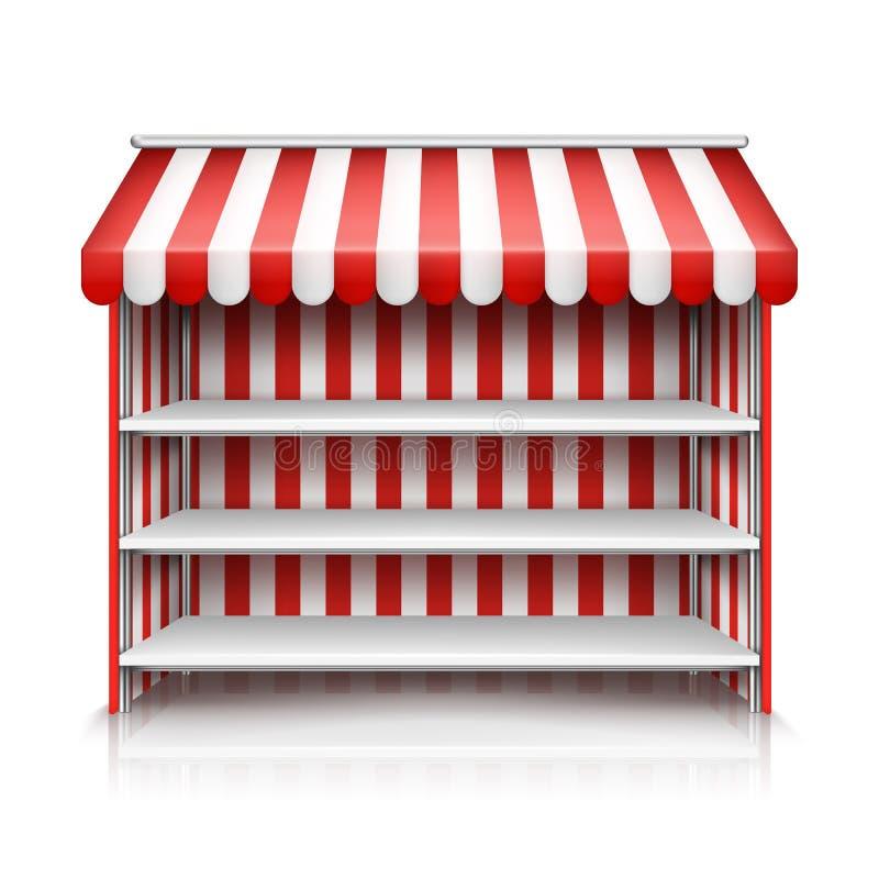 Tenda vazia do mercado do vetor com prateleiras e toldo ilustração stock