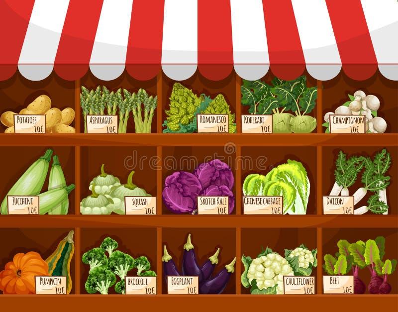 Tenda vegetal do mercado com vegetarianos frescos ilustração do vetor