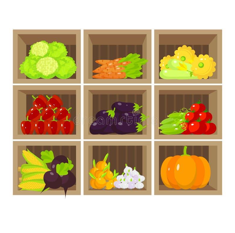 Tenda vegetal local Loja de alimento biológico fresca ilustração do vetor