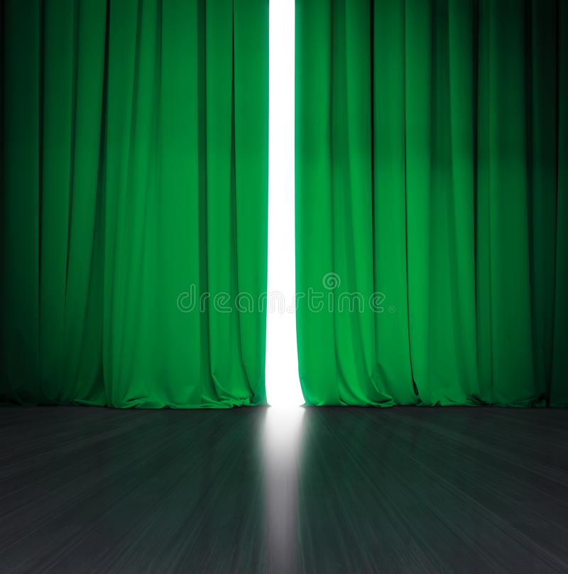 Tenda verde del teatro leggermente aperta con luce intensa dietro e fase o scena di legno fotografie stock