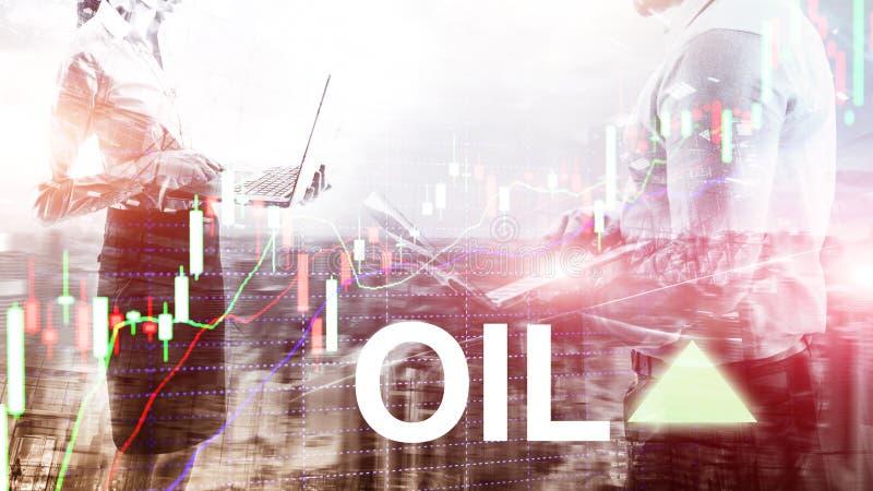 Tendance d'huile  Commerce de bourse des valeurs des prix de p?trole brut  huile des prix  Hausses de fl?che Fond abstrait d'affa photos libres de droits