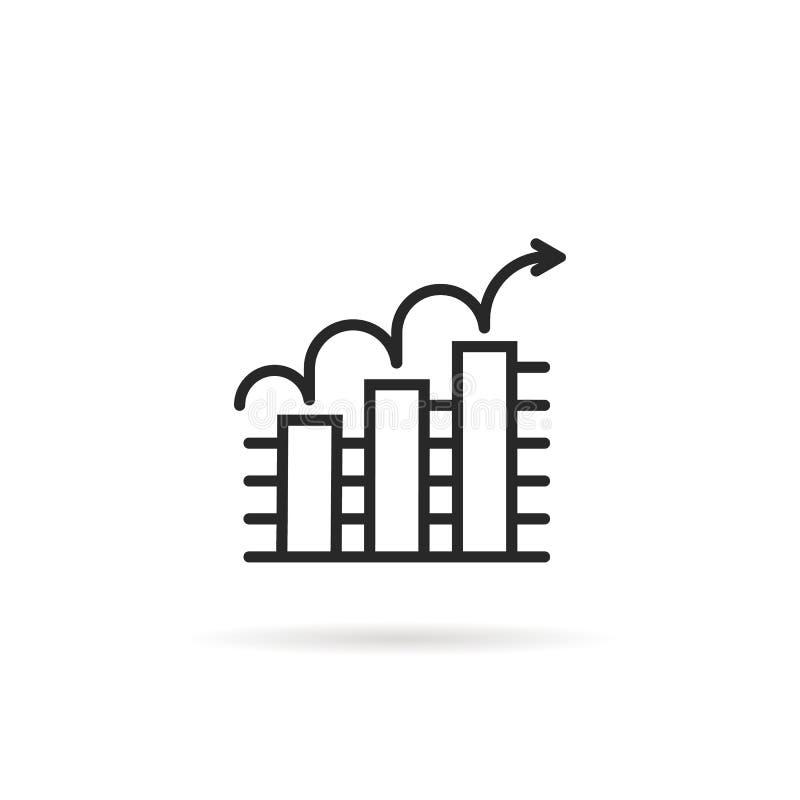 Tendance d'icône d'ensemble vers le haut de graphique de gestion sur le fond blanc illustration libre de droits