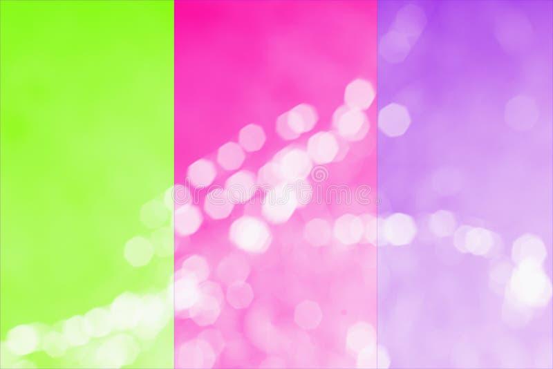 Tendance de 2019 couleurs Un trio de plastique rose de couleur néon lumineux, vert d'UFO, pourpre de proton, photo modifiée la to illustration stock