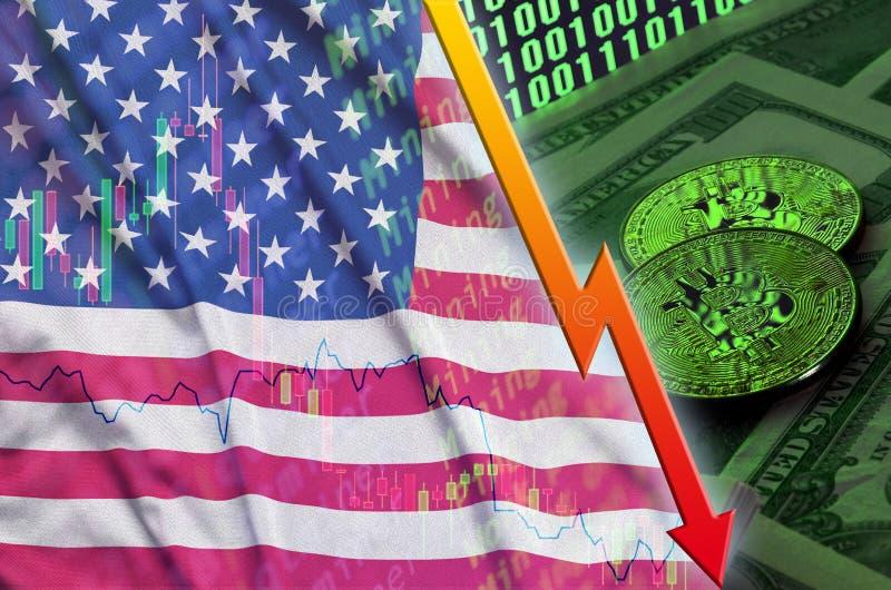 Tendance en baisse de drapeau et de cryptocurrency des Etats-Unis d'Amérique avec deux bitcoins sur les billets d'un dollar et l' illustration stock