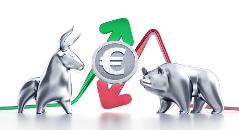 Tendances à la hausse et à la baisse d'euro illustration de vecteur