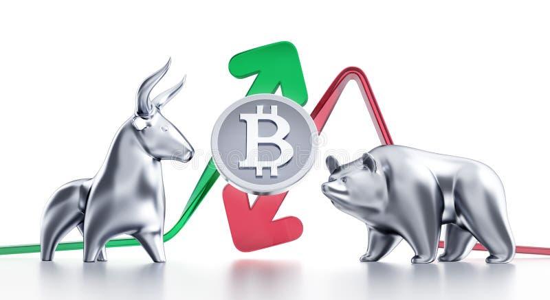 Tendances à la hausse et à la baisse de Bitcoin illustration de vecteur