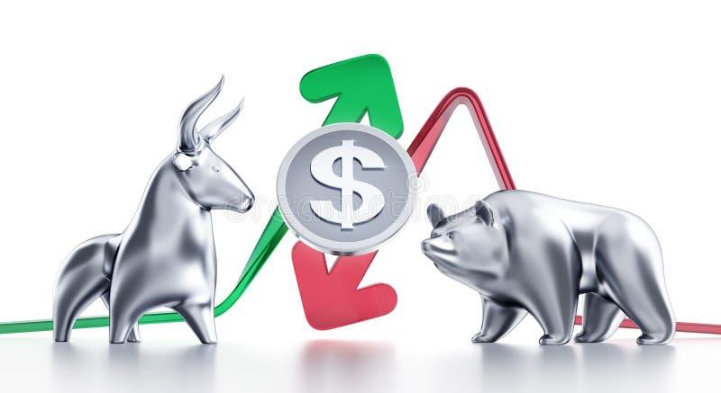 Tendances à la hausse et à la baisse de dollar illustration stock