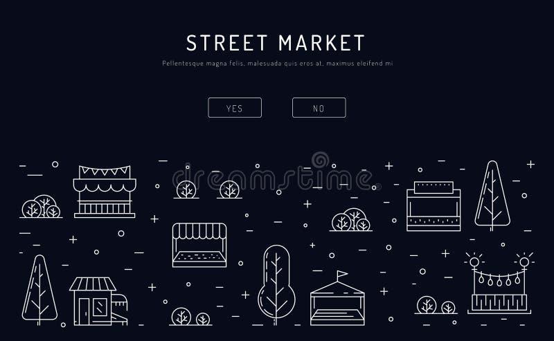 Tendas e bens da venda no mercado sazonal do alimento da rua ilustração stock