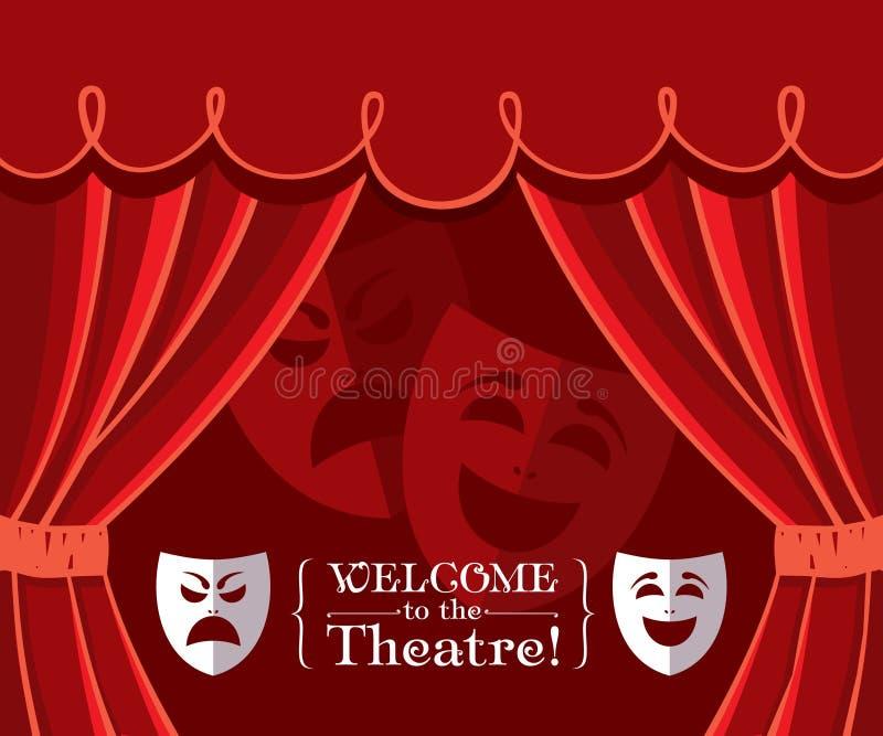 Tende del teatro con le maschere illustrazione di stock