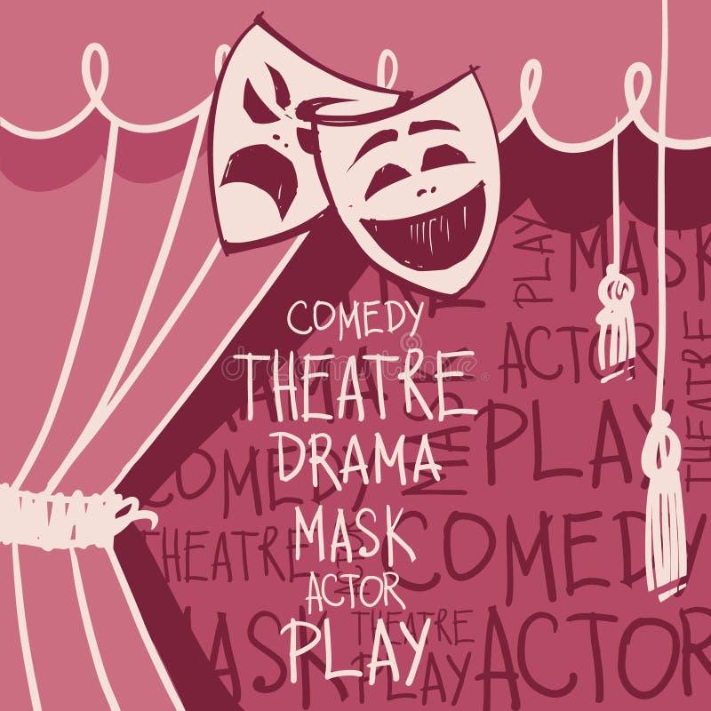 Tende del teatro con le maschere nello stile del cketch royalty illustrazione gratis