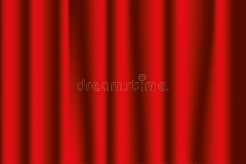 Tende della fase rosse Fondo del teatro o di opera Vettore illustrazione di stock