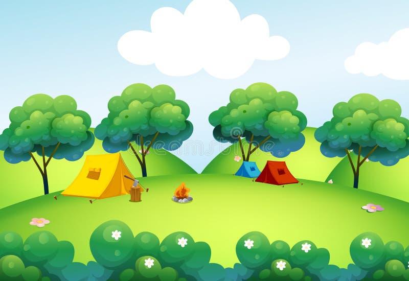 Tende di campeggio alla cima della collina illustrazione di stock