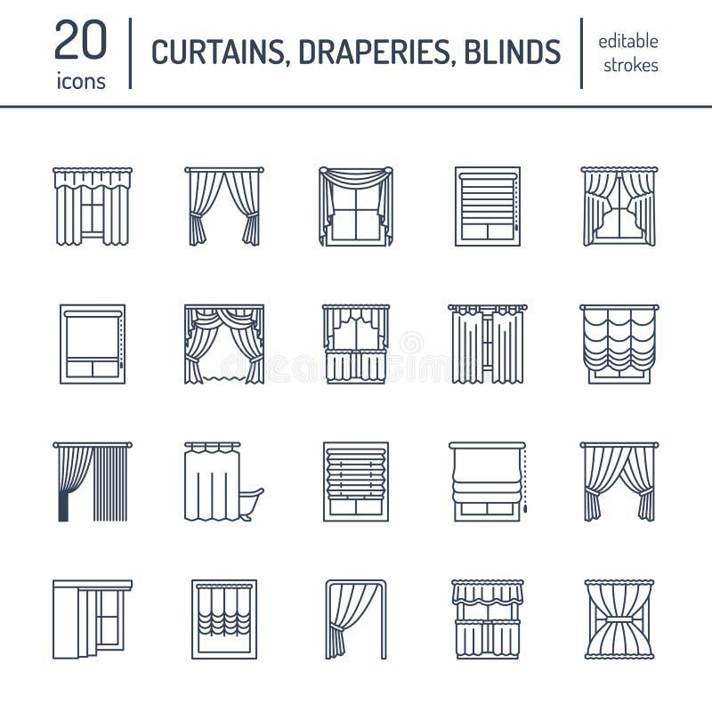 Tende di finestra, linea icone delle tonalità Decorazione di scurimento della varia stanza, lambrequin, swag, tenda francese, cie royalty illustrazione gratis