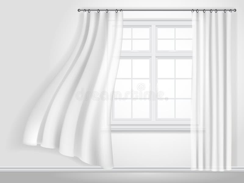 Tende e finestra d'ondeggiamento bianche royalty illustrazione gratis