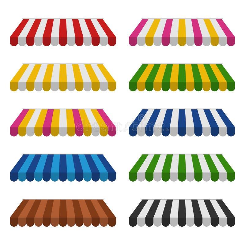 Tende messe isolate su fondo bianco Parasole variopinto a strisce per i negozi illustrazione di stock