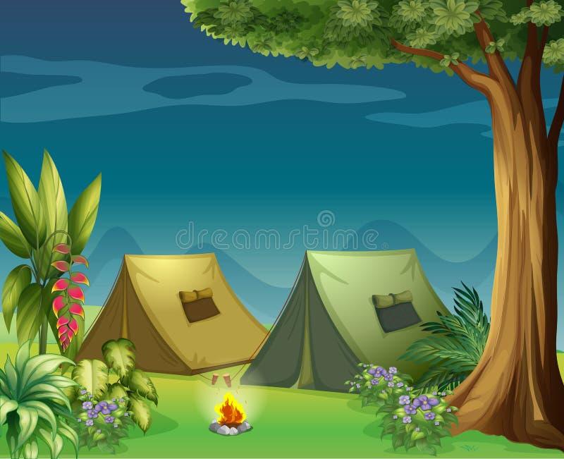 Tende nella giungla illustrazione vettoriale