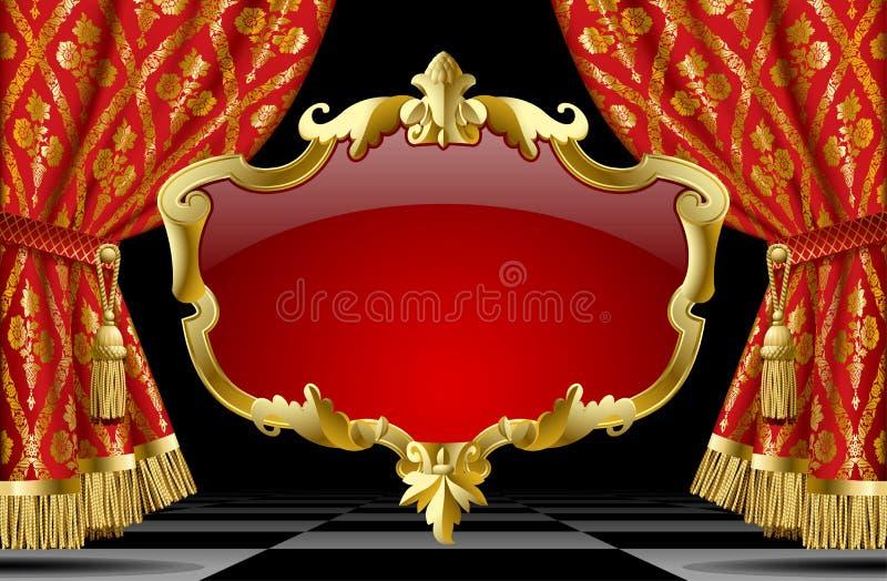 Tende rosse con l'ornamento classico ed il barocco decorativo dell'oro illustrazione vettoriale