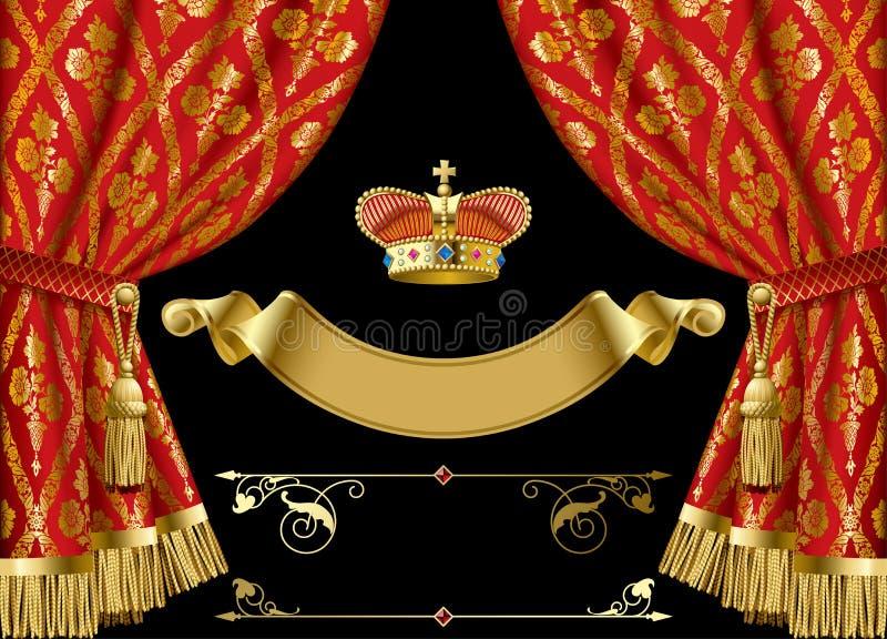 Tende rosse con la corona ed i retro elementi decorativi di progettazione illustrazione vettoriale
