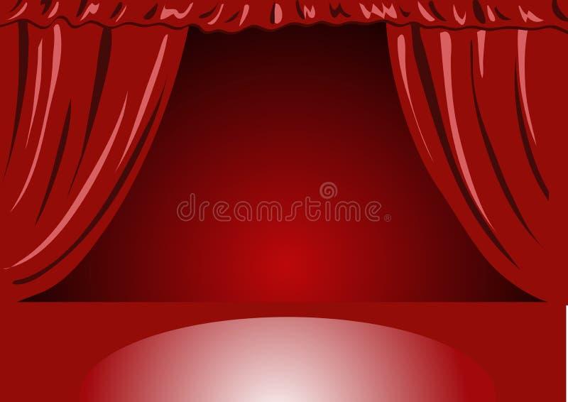 Tende rosse del teatro del velluto - illustrazione vectorial