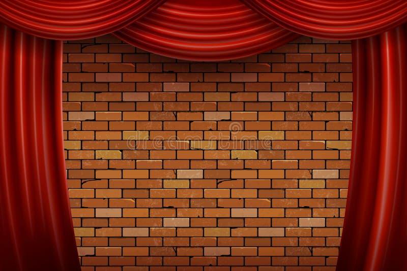 Tende rosse sul fondo del muro di mattoni royalty illustrazione gratis
