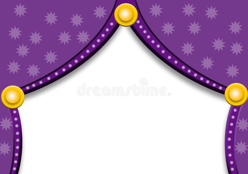 Tende viola con le stelle illustrazione di stock