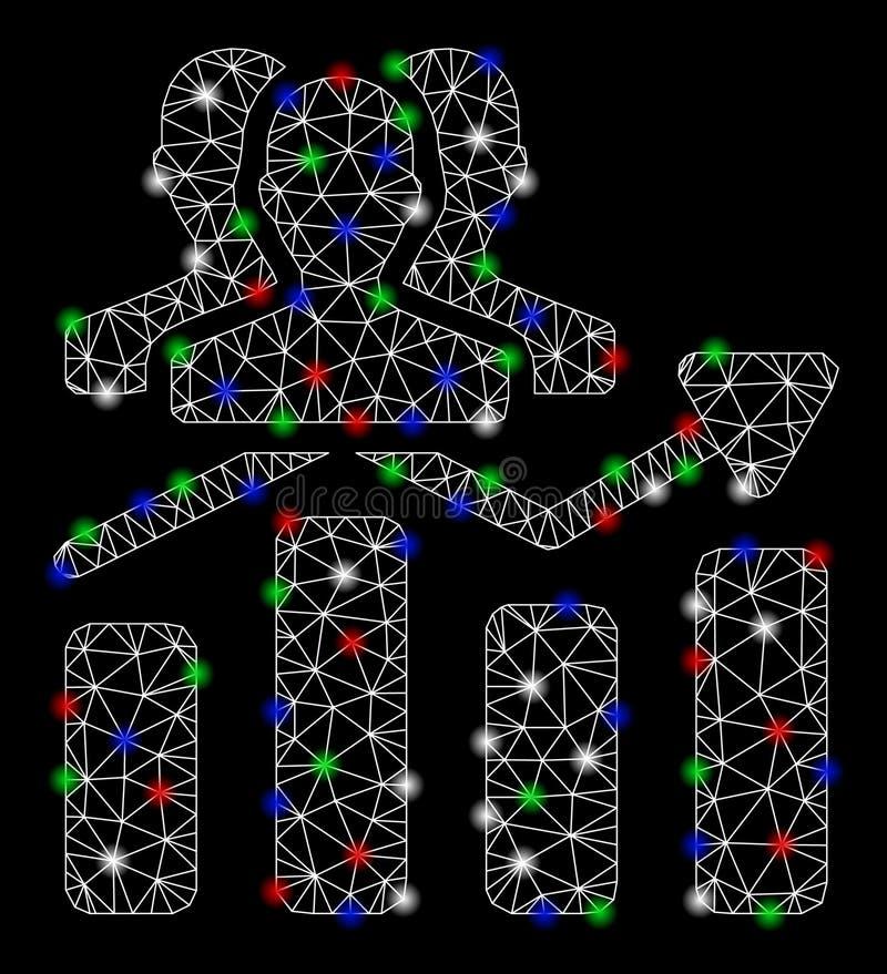 2.a tendencia de la carta de la audiencia de la malla brillante con los puntos de la llamarada ilustración del vector