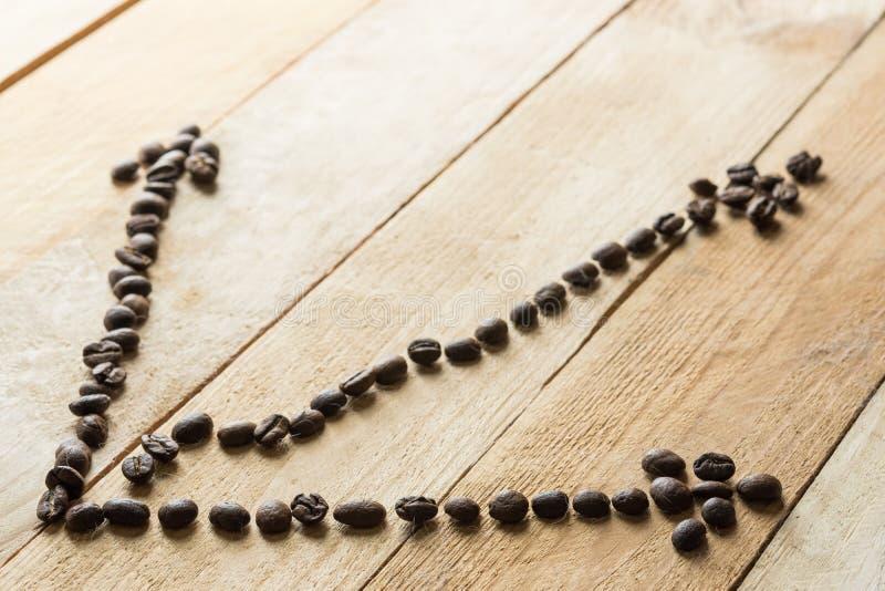 Tendencia de la carta del diagrama de los granos de café en fondo de madera Concepto del asunto Todav?a del asunto vida imagen de archivo