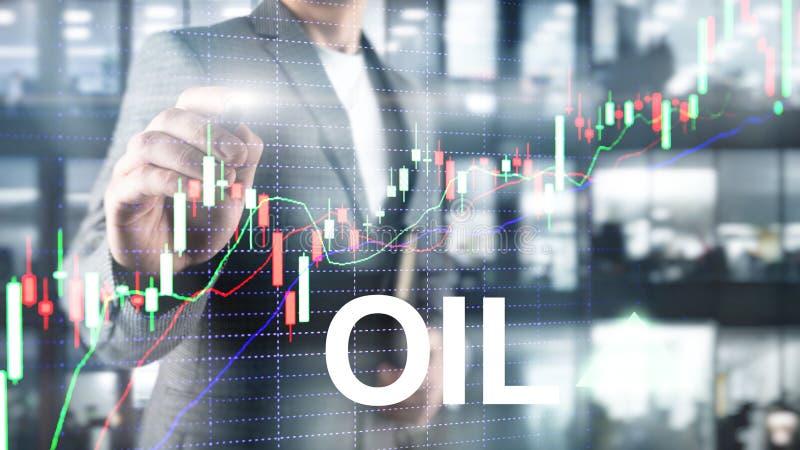 Tendencia del aceite para arriba Comercio de bolsa de acci?n del precio del petr?leo crudo para arriba aceite del precio para arr ilustración del vector
