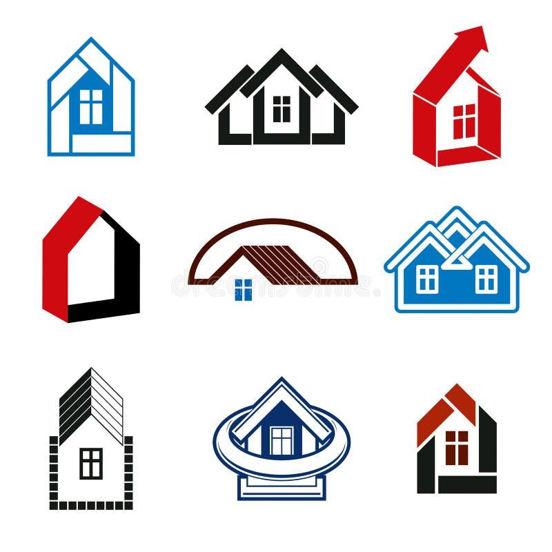 Tendencia del crecimiento del sector inmobiliario - iconos simples de la casa Resumen libre illustration