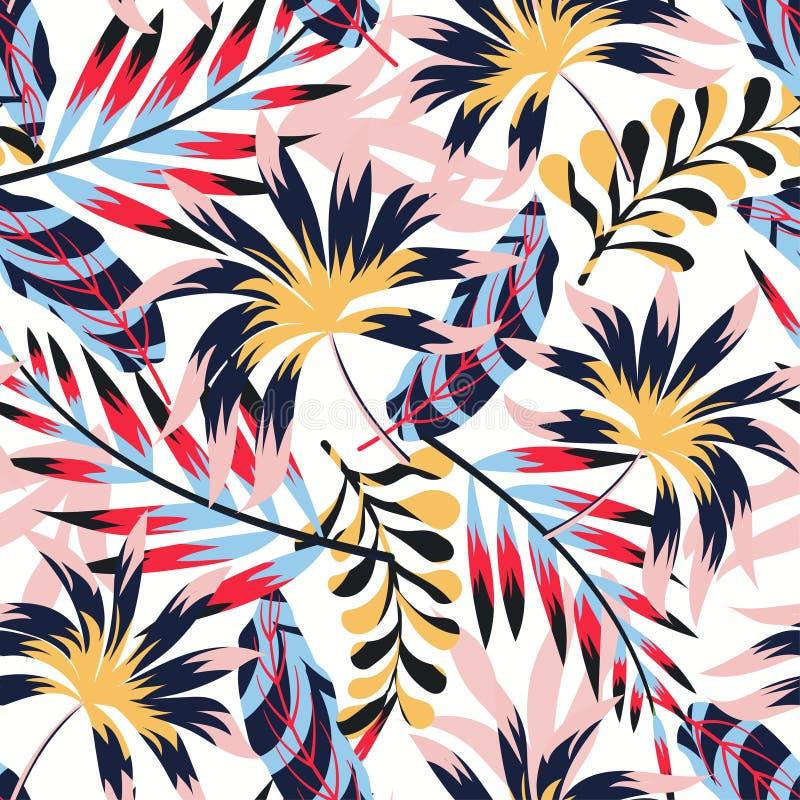 Tendens abstract tropisch naadloos patroon met bladeren en installaties op witte achtergrond Vector ontwerp Wildernisdruk Bloemen stock illustratie