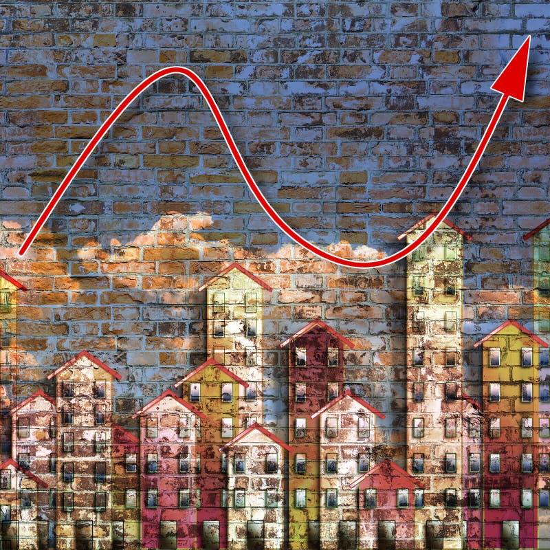 Tendens in de woononroerende goederenmarkt - conceptenbeeld - die ik ben de auteursrechteigenaar van de graffitibeelden in dit be royalty-vrije stock afbeelding