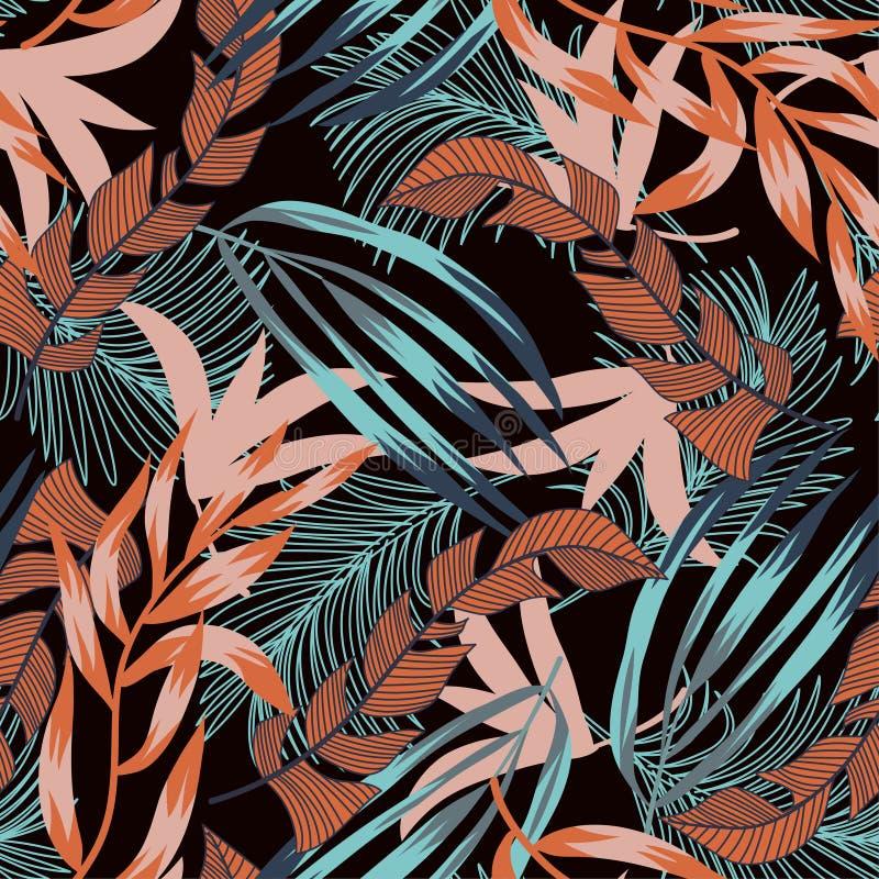 Tendens naadloos patroon met heldere tropische bladeren en installaties op een zwarte achtergrond Vector ontwerp Wildernisdruk Bl vector illustratie