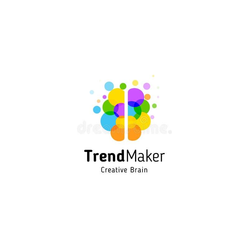 Tendenz-Herstellerzusammenfassungs-Vektorlogo Lokalisierte bunte Kreisblasen-Gehirnform Kreativer Verstand des Genies lizenzfreie abbildung
