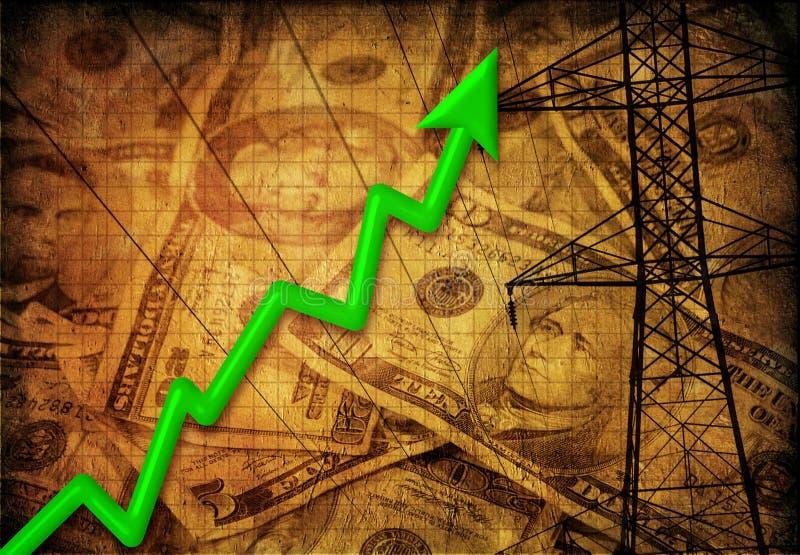 Tendenza ascendente di profitto di energia illustrazione di stock