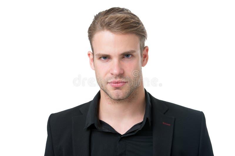 Tendenza nera di modo Il responsabile elegante dell'uomo indossa l'attrezzatura convenzionale nera su fondo bianco Le ragioni ann immagine stock libera da diritti