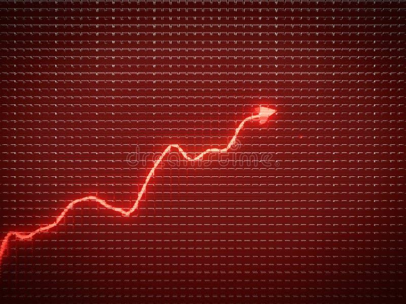 Tendenza rossa come il simbolo di successo o crescita finanziaria fotografie stock libere da diritti