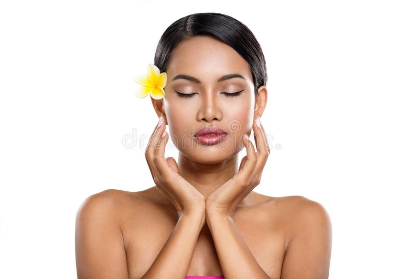 Tender Asian woman with clean skin. Tender Asian woman with closed eyes enjoying in healthy  skin stock photos