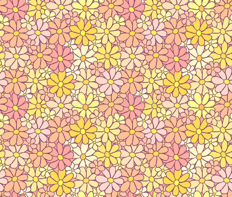 Tender Cartoon Flower Pattern with Careless Hand. Drawn Lining, background royalty free illustration