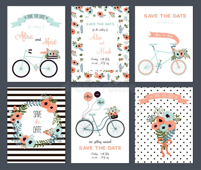 Tender collection of 6 cute wedding card templates. vector illustration