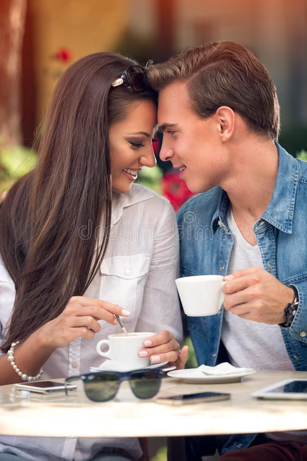 Tender couple at cafe stock image