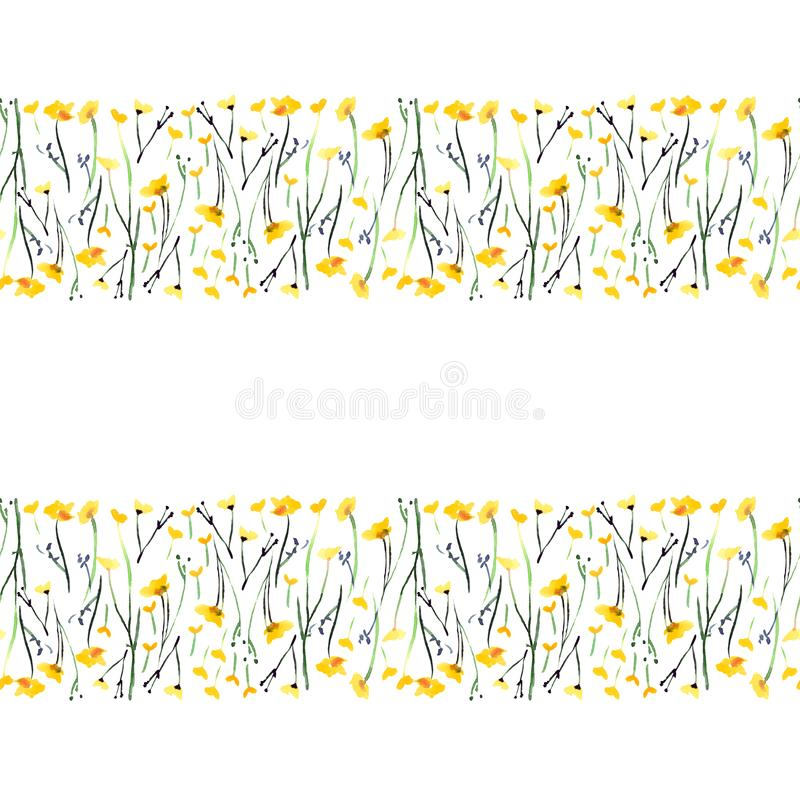 Tender delicate elegant beautiful bright floral herbal spring summer colorful yellow line of meadow flowers with buds and leaves p. Attern watercolor hand stock illustration